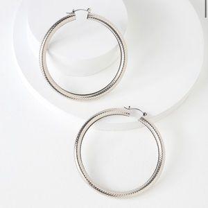 Silver Hammered Hoop Earrings